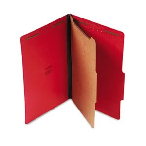 Universal Pressboard Classification Folders, 4-Section, Red, 10/Box (UNV10213)