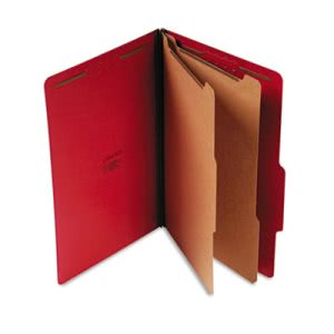 Universal Pressboard Classification Folders, 6-Section, Red, 10/Box (UNV10313)
