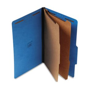 Pressboard Classification Folders, Legal, 6-Section, Blue, 10 per Box (UNV10311)