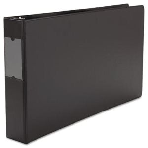 "Universal Wide Base Round Ring Binder With Label Holder, 2"" Capacity, 11 x 17, Black (UNV35421)"