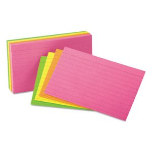 Universal Ruled Neon Glow Index Cards, 3 x 5, Assorted, 100/Pack (UNV47217)
