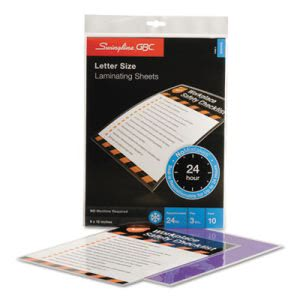 Swingline SelfSeal Repositionable Laminating Sheets, 3mm.,10 Sheets (SWI3747410)
