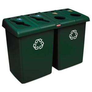 Rubbermaid Commercial Glutton Recycling Station, Four-Stream, 92 gal, Green (RCP1792373)