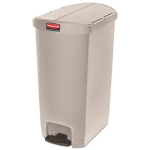 Rubbermaid 1883551 Slim Jim 18 Gallon Step-On Trash Can, Beige (RCP1883551)