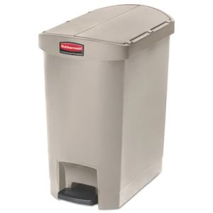 Rubbermaid Slim Jim 8 Gallon Step Trash Can, End Style, Beige, Each (RCP1883457)