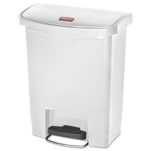 Rubbermaid 1883555 Slim Jim 8 Gal. Step-On Container, White (RCP1883555)