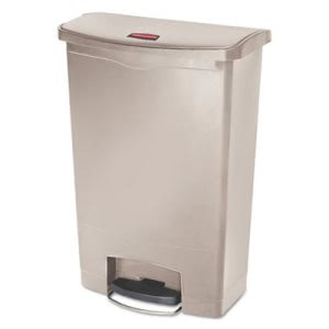 Rubbermaid Slim Jim 24 Gallon Step On Trash Can, Beige, Each (RCP1883552)