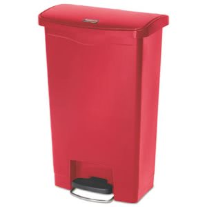 Rubbermaid 1883566 Slim Jim 13 Gallon Step-On Trash Can, Red (RCP1883566)