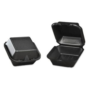 Large Sandwich Black Foam Hinged Containers, 500 Containers (GNP SN225-3L)