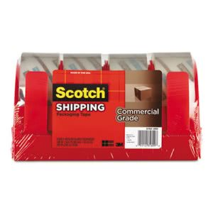 Scotch 3750 Packaging Tape with Dispenser, Clear, 4/PK (MMM37504RD)