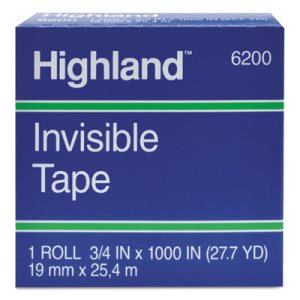 "Highland Invisible Tape, 1"" x 2592"", 3"" Core (MMM620025921)"