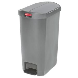 Rubbermaid 1883603 Slim Jim 13 Gallon Step-On Trash Can, Gray (RCP1883603)