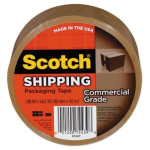 Scotch 3750 Commercial Grade Packaging Tape, 54.6 Yards, Tan (MMM3750T)
