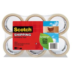 "Scotch Greener Commercial Packaging Tape, 1.88"" x 49.2 yards, 6/Pack (MMM3750G6)"
