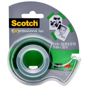 "Scotch Expressions Magic Tape with Dispenser, 3/4"" x 300"", Green (MMMC214GRN2D)"