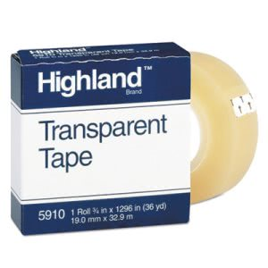 "Highland Transparent Tape, 3/4"" x 1296"", 1"" Core, Clear (MMM5910341296)"