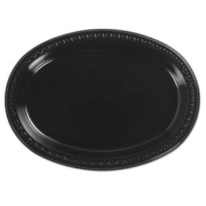 Chinet Heavyweight Plastic Oval Platters, 8 x 11, Black, 500 Platters (HUH81411)