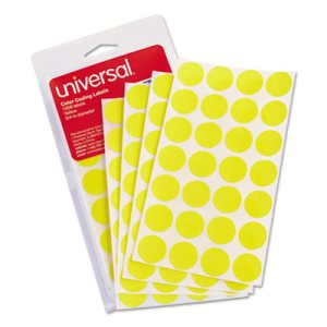 Universal Self-Adhesive Color-Coding Labels, Yellow, 1008 Labels (UNV40114)