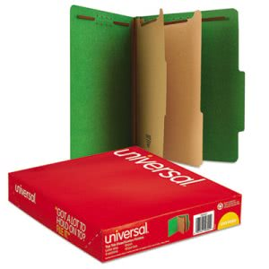 Universal Pressboard Folders, Letter, 6 Section, Green, 10 per Box (UNV10302)