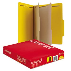 Universal Classification Folders, 6 Section, Yellow, 10 per Box (UNV10304)