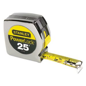 "Bostitch Powerlock II Power Return Rule, 1"" x 25 ft., Chrome/Yellow (BOS33425)"