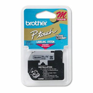 Brother P-Touch Labeler M Series Tape Cartridge, Black on Silver (BRTM921)