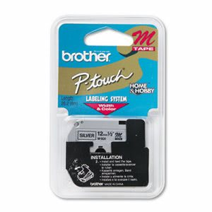 "Brother P-touch M Series Tape Cartridge, 1/2"" Wide, Black on Silver (BRTM931)"