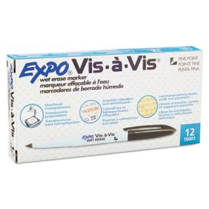 Expo Vis-a-Vis Wet-Erase Marker, Fine Point, Black, Dozen (SAN16001)