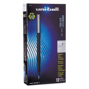 Uni-ball Roller Ball Stick Dye-Based Pen, Blue Ink, Micro, Dozen (UBC60153)
