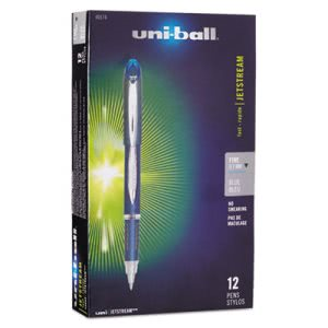 Uni-ball Jetstream Ballpoint Stick Pen, Blue Ink, Medium (SAN40174)