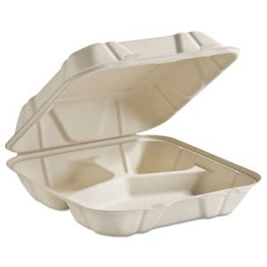 Chinet Clamshell Food Containers, 3-Comp, White, 200 Containers (HUH68029)