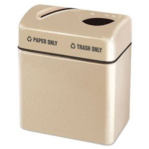 "Rubbermaid Commercial Two-Section Fiberglass Recycling Center, Beige, 16"" x 24"" x 28"" (RCPR2416TPPLALM)"