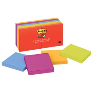 Post-it Super Sticky Notes, 3 x 3, Five Electric Glow Colors, 12 90-Sheet Pads/Pack (MMM65412SSAN)