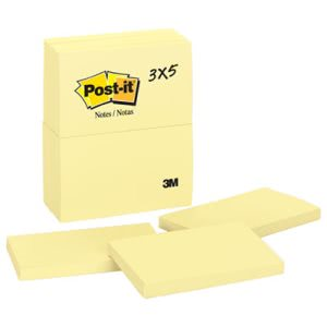 Post-it Notes Original Notes, 3 x 5, Canary Yellow, 12 Pads/Pack (MMM655YW)