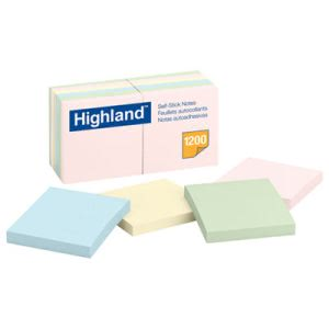 Highland Sticky Note Pads, 3 x 3, Assorted Pastel, 100 Sheets (MMM6549A)