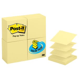 Post-it Pop-Up Note Refill, 3 x 3, Yellow, 24 - 100 Sheet Pads (MMMR33024VAD)