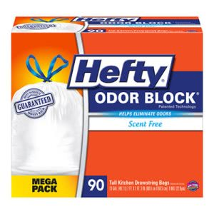 Hefty Odor Block Tall-Kitchen Drawstring Bags, 13gal, White, 90/Box (RFPE83690)