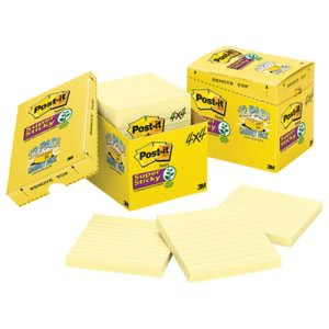Post-it Super Sticky Notes, 4 x 4, Yellow, 12- 90-Sheet Pads (MMM67512SSCP)