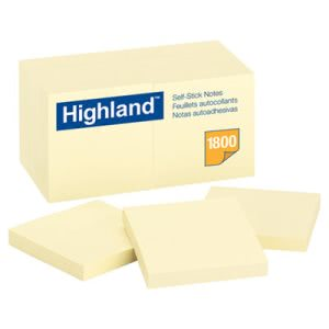 Highland Self-Stick Notes, 3 x 3, Yellow, 18 100-Sheet Pads/Pack (MMM654918PK)