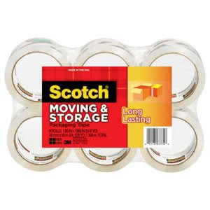 "Scotch Storage Tape, 1.88"" x 54.6 yards, 3"" Core, Clear, 6 Rolls (MMM36506)"