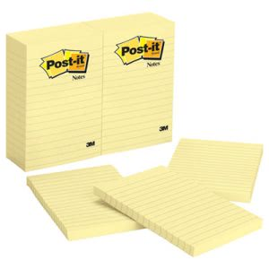 Post-it Notes, 4 x 6, Lined, Yellow, 12 100-Sheet Pads/Pack (MMM660YW)