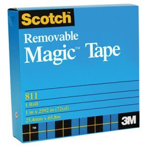 "Scotch Removable Tape, 3/4"" x 1296"", 1"" Core, Transparent (MMM811341296)"