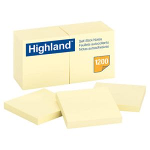 Highland Self-Stick Pads, 3 x 3, Yellow, 100 Sheets/Pad, 12 Pads (MMM6549YW)