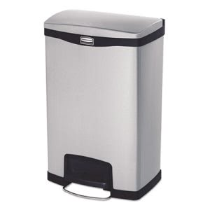 Rubbermaid Slim Jim 13 Gallon Step-On Trash Can, Stainless, Each (RCP1901992)