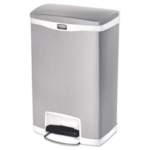 Rubbermaid 1901997 Slim Jim 13 Gallon Step-On Trash Can, White (RCP1901997)