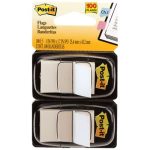 Post-it Flags Standard Tape Flags in Dispenser, White, 100 Flags (MMM680WE2)