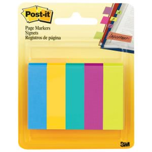 Post-it Page Markers, Five Assorted Ultra Colors, 5 Pads (MMM6705AU)