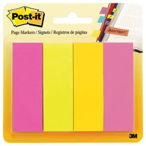 Post-it Page Markers, Four Ultra Colors, Four Pads of 50 Strips Each (MMM6714AU)