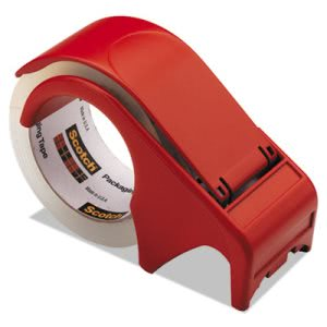 "Scotch Dispenser for Box Sealing Tape, 3"" Core, Plastic, Red (MMMDP300RD)"