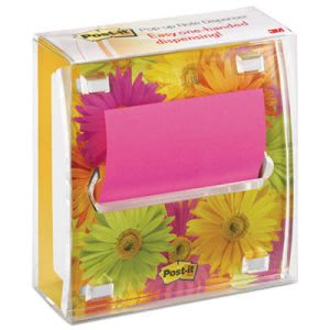 Post-it Pop-up Note Dispenser with Designer Daisy Insert, 1 Pad (MMMDS330LSP)